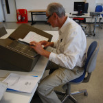 Thomas C. Sanger researching mariners' certificates, London Metropolitan Archives, London, England, U.K. (5/13/2012)