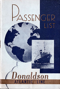 Passenger list for Athenia's voyage from Glasgow to Canada, Sept. 2, 1938