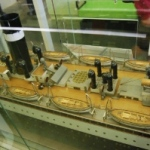 The nested configuration of lifeboats aboard Athenia visible on the builder's model of the ship at the Riverside Museum, Glasgow.