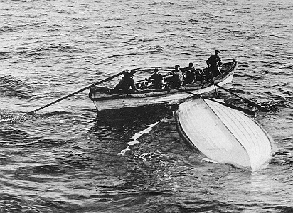 This overturned lifeboat is smaller but similar in design to the hull on which Judith Evelyn and five others survived for several hours in rising seas.