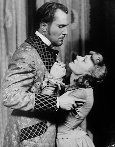 "Judith Evelyn with Vincent Price in a scene from her first Broadway hit, ""Angel Street."""
