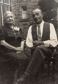 Rhoda Thomas with her brother Albert Fisher in Street, England. Rhoda's visit in the summer of 1939 was cut short by the start of World War 2.