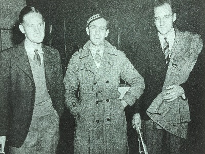 Survivors (from left) John Woods, David Jennings and Tony Cassels return home Sept. 23, 1939 to Toronto after being rescued from the torpedoed passenger ship Athenia.   Photo credit: The Evening Telegram, Toronto, Canada.