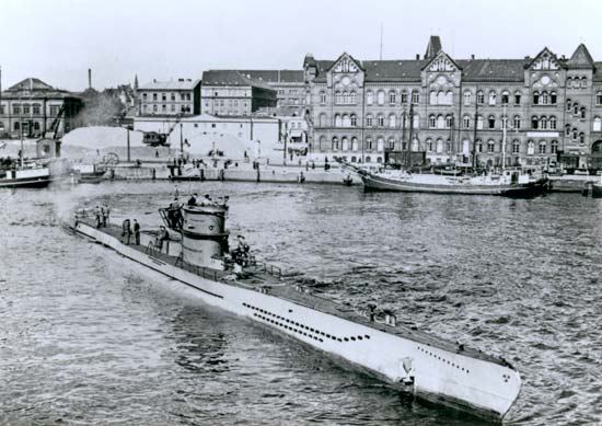 Launching of U-218 at Kiel, Germany, in 1941. From J.P. Mallmann Showell, U-Boats under the Swastika (1987)