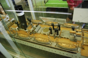 The nested configuration of lifeboats aboard Athenia visible on the builder's model of the ship...