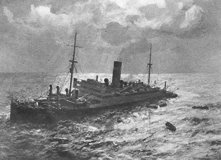 Painting of the SS Athenia Sinking by W.J. Burgess