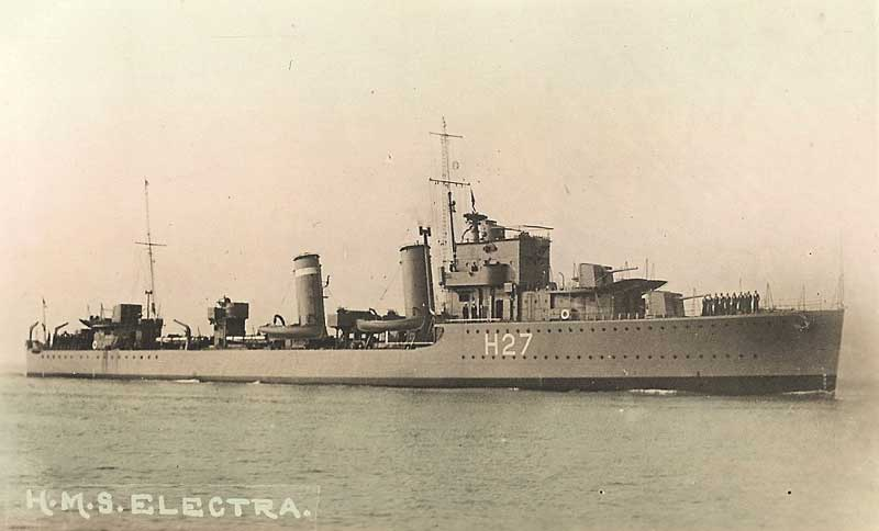 HMS Electra, the sister ship of HMS Escort, which rescued Russell. Electra assisted Escort in the rescue of the SS Athenia survivors.